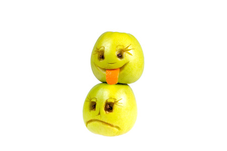 desprecio: Happy and sad emoticons from apples. Feelings, attitudes and emotions.
