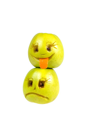 Happy and sad emoticons from apples. Feelings, attitudes and emotions.