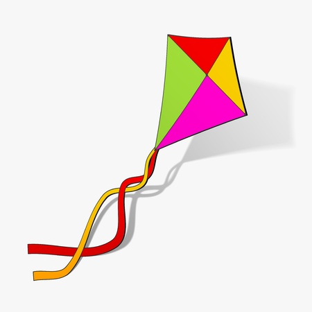 kite hobby game fly free outdoor up wind sticker realistic shadow design element
