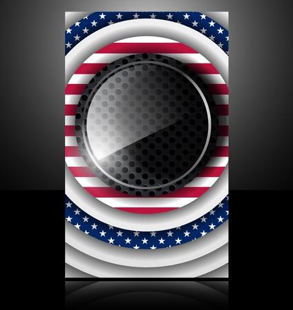 american flag usa abstract card glass metal national star Vector