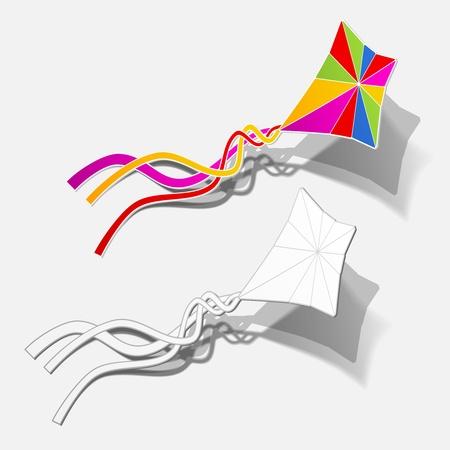 カイト趣味ゲーム フライ無料風ステッカー現実的な影のデザイン要素を屋外