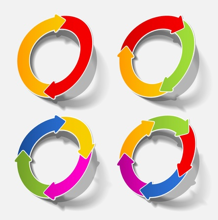 arrow circle circular cycle diagram motion recycling realistic shadow sticker template Vector