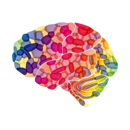 cerebral: human brain, colorful thoughts, vector abstract background