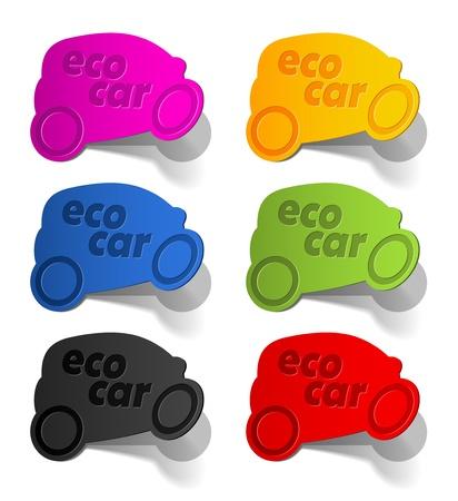 harmless: eco car, realistic design elements Stock Photo