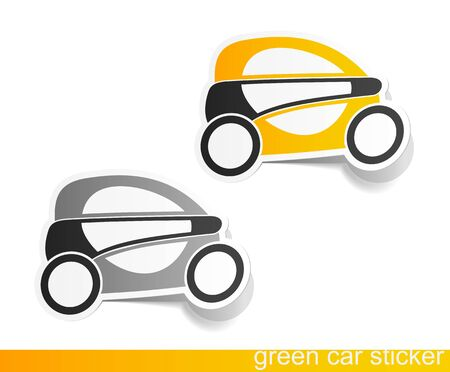 car drawing: eco car, realistic design elements Stock Photo