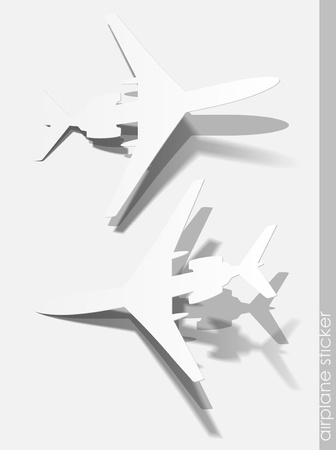 airplane sticker, realistic design elements Vector
