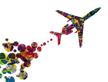 airplane, vector abstract background Vektoros illusztráció
