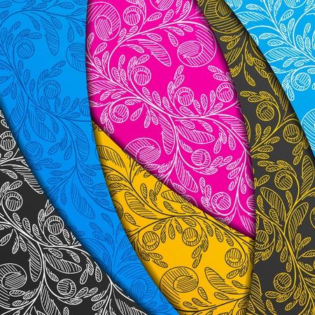 着色された層、抽象的な背景、様式化された花
