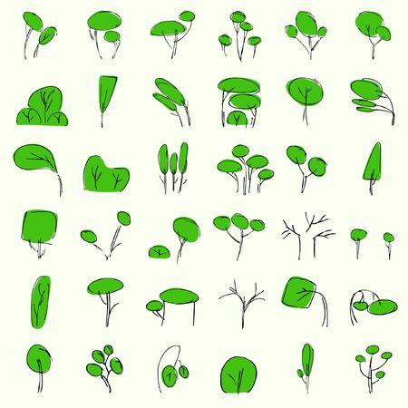 plats: vectorial trees in summer