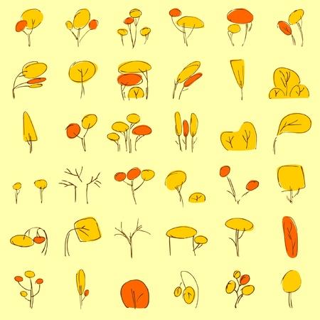 plats: vectorial trees in autumn