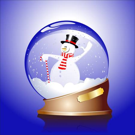 christal: Winter sphere with a snowman Illustration