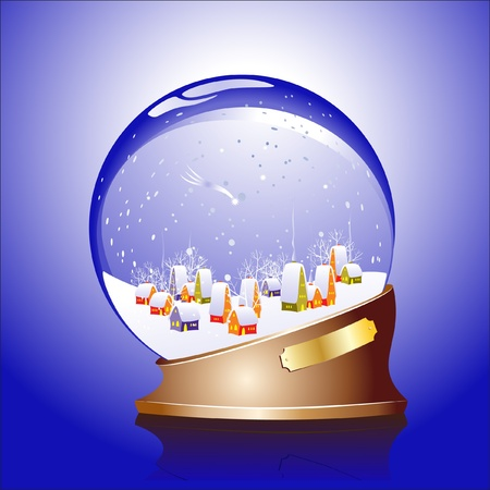 Winter sphere with a town Stock Vector - 11649573