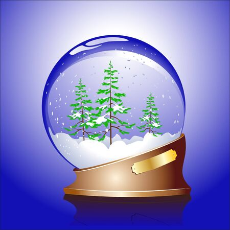 Winter sphere with a wood Vector