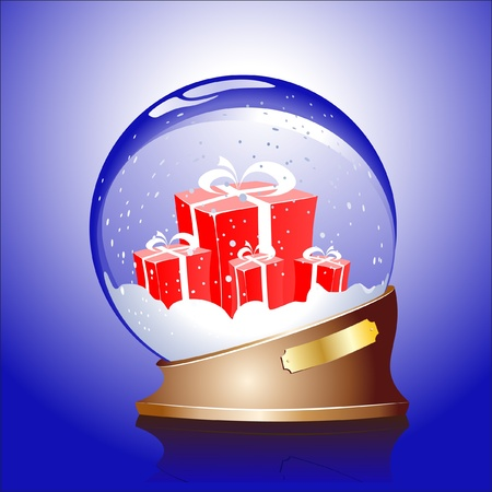Winter sphere with a gifts Vector