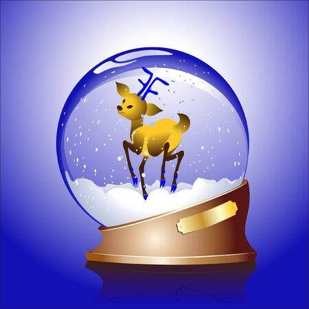 Winter sphere with a reindeer Vector