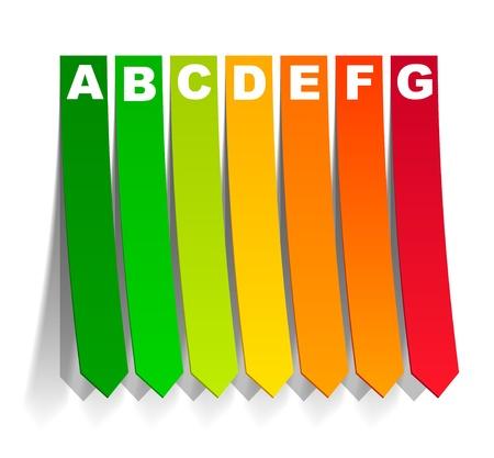 eficiencia energetica: la energ�a de clasificaci�n en la forma de una pegatina Vectores