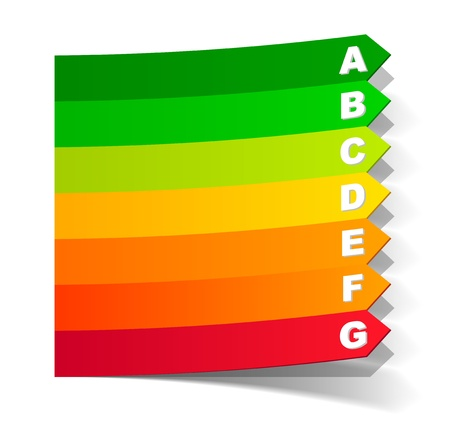 kwh: energy classification in the form of a sticker