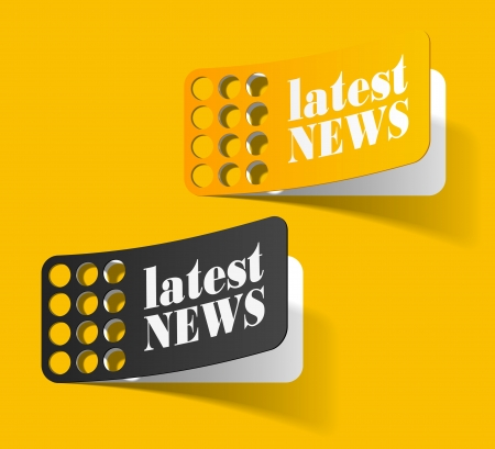 news icon: latest news, realistic design elements