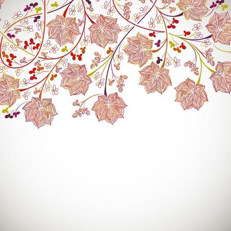 dibujo vintage: fondo floral