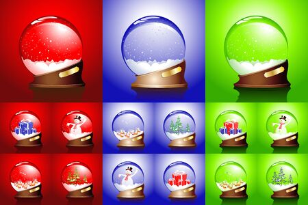 winter set of glass balls Vector