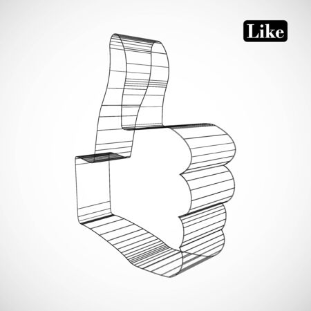 abstract symbol of LIKE in style 3D Vector