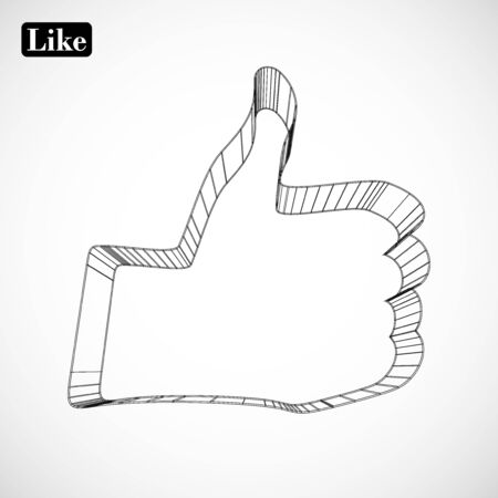 abstract symbol of LIKE in style 3D Stock Vector - 15939341