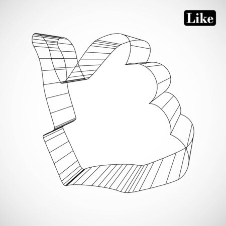 abstract symbol of LIKE in style 3D Stock Vector - 16485795