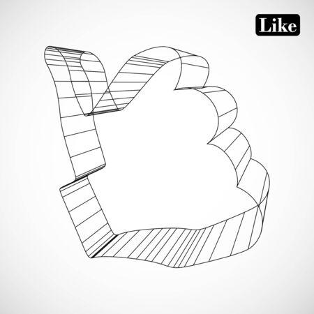 simbolo astratto di MI PIACE in 3D stile Archivio Fotografico - 16485795