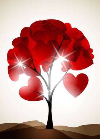 valentine tree, abstract background Vector