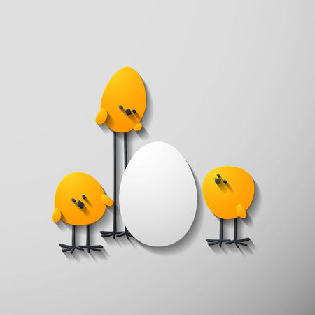 Easter chicks, 3D style, in the form of layers of paper or paperboard Vector