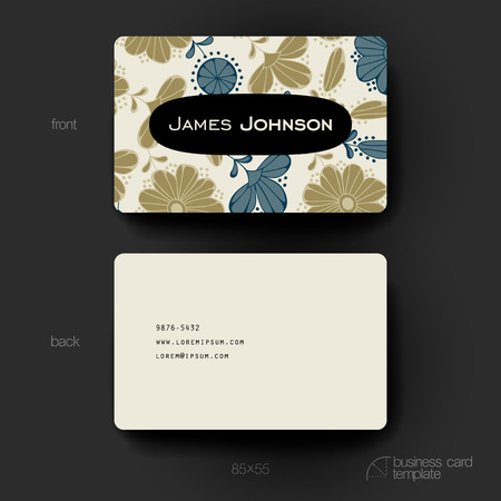 blank template: Business card vector template with floral background. Creative modern design