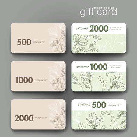 varied: Gift coupon, discount card template with  floral ornament background. Creative layout design