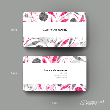 business card design: Business card vector template with floral ornament background. Creative modern design
