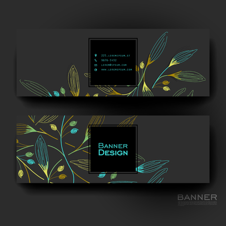 web template: Beautiful banner vector template with autumn leaf ornament background. Creative modern design