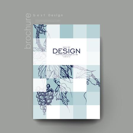 ブドウ飾りベクトル パンフレット テンプレート。チラシのレイアウト。創造的なモダンなデザイン