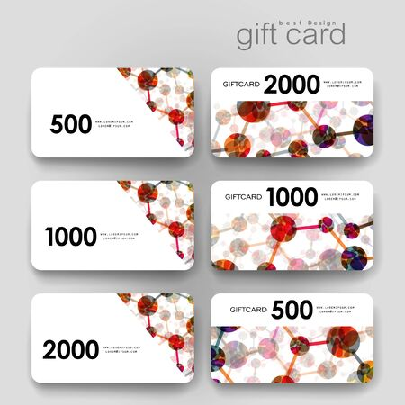 macromolecule: Gift coupon, discount card template with DNA molecule background. Creative layout design