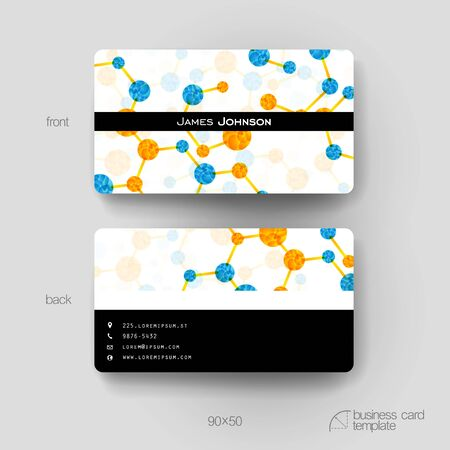 alternating organic: Business card vector template with DNA molecule background. Creative modern design Illustration