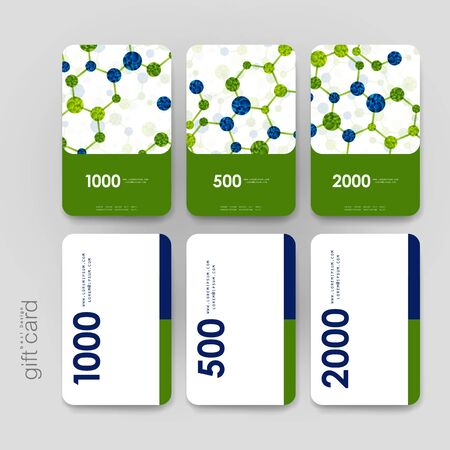 bases: Gift coupon, discount card template with DNA molecule background. Creative layout design