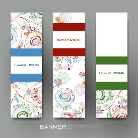 Beautiful banner vector template with floral abstract background. Creative modern design