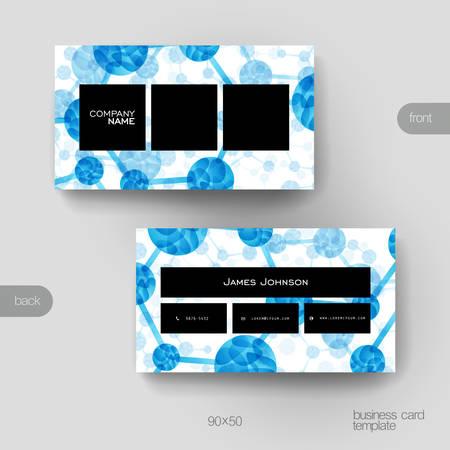 macromolecule: Business card vector template with DNA molecule background. Creative modern design Illustration