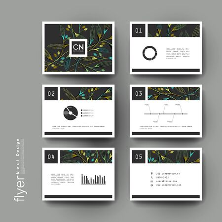 color pages: autumn leaf ornament vector brochure template. Flyer Layout. Creative modern design