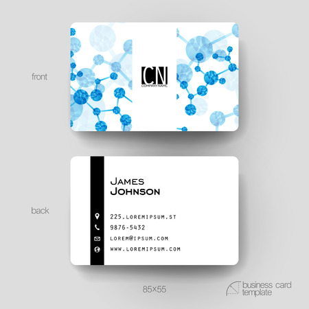 replicate: Business card vector template with DNA molecule background. Creative modern design Illustration