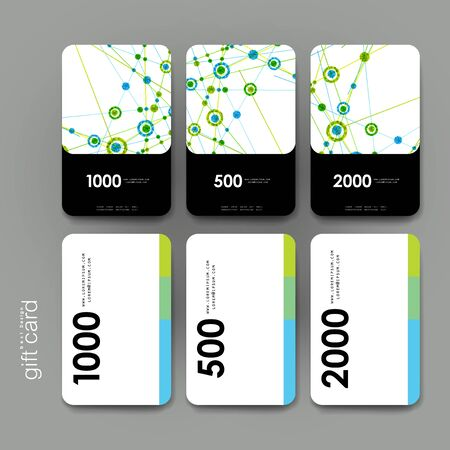 alternating organic: Gift coupon, discount card template with DNA molecule background. Creative layout design