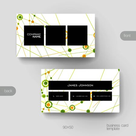 macromolecule: Business card vector template with DNA molecule background. Creative modern design Illustration