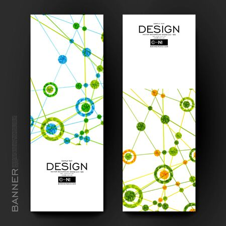 macromolecule: Beautiful banner vector template with DNA molecule background. Creative modern design Illustration
