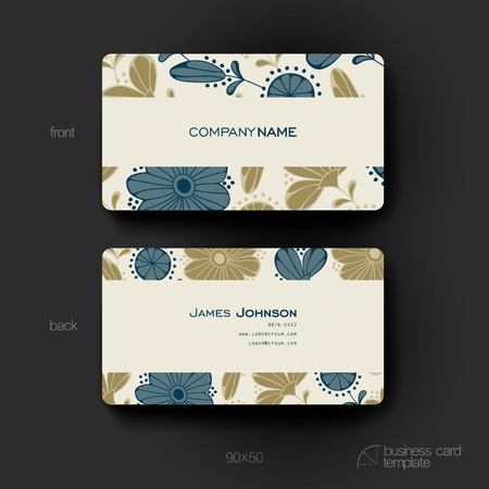 winds: Business card template with floral background. Creative modern design