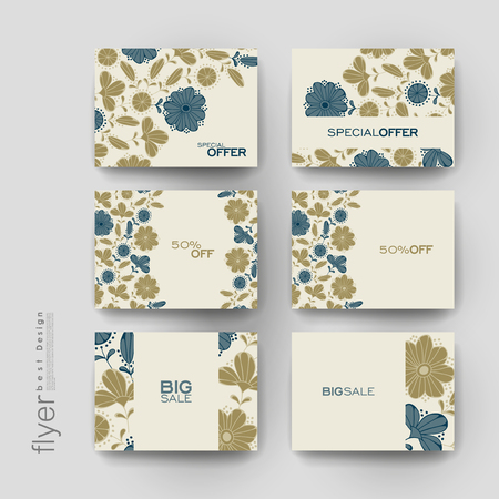winds: floral background brochure template