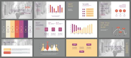 Progettazione del modello di presentazione. Infografica vettoriale. Utilizzare nel volantino di presentazione e nell'opuscolo del rapporto aziendale di marketing pubblicitario del banner del rapporto annuale. Modello multiuso per diapositiva di presentazione.