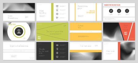 Diseño de plantillas de presentación. Infografía de vector. Se utiliza en el folleto de presentación y el folleto de informes corporativos de marketing publicitario. Plantilla multiusos para diapositiva de presentación. Ilustración de vector