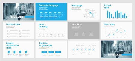 Projekt szablonu prezentacji. Infografiki wektorowe. Użyj w prezentacji ulotki i ulotki raport korporacyjny marketing reklama baner raportu rocznego. Uniwersalny szablon do slajdu prezentacji. Ilustracje wektorowe